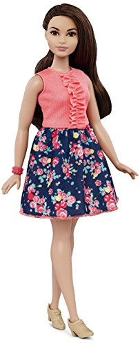 NEW  2018 PINK ROSE PRINT skirt  for Barbie doll FITS CURVY TOO
