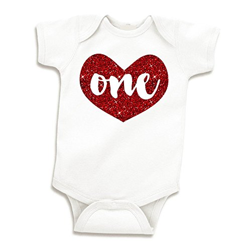 Girl First Birthday Outfit, Baby Girls One Year Old Birthday Shirt (Glitter Red, 12-18 Months)