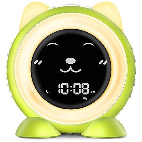 ICODE Kids Alarm Clock with Fun Expressions, Sleep Training Alarm Clock, 7 Colors Changing Kids Night Light, Wake Up Light Alarm Clock (Green)