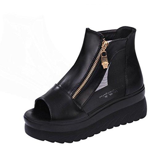 Gaorui Women Sexy Mesh Breathable Sandal High Heels Pump Platform Zip Shoes Ankle (High Heel Mesh Heels)
