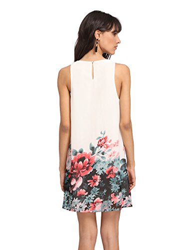 ROMWE Women's Summer Sundress Floral Printed Sleeveless Casual A Line DressWhite L Photo #5