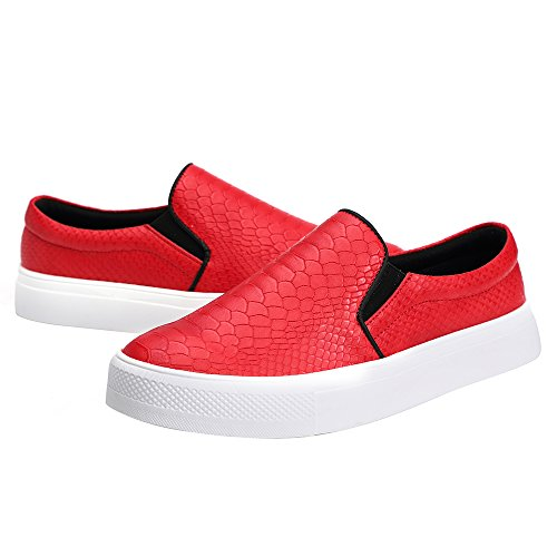 Print Shoes SUNROLAN Flat Sneakers Slip Loafer Fashion Womens Liz Leather Snake Red Microfiber On qRnfCXRwvB