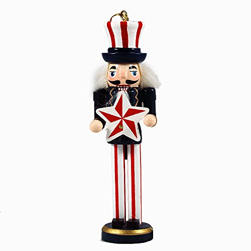 (Hand-Painted Americana Themed Nutcracker Hanging Ornament)