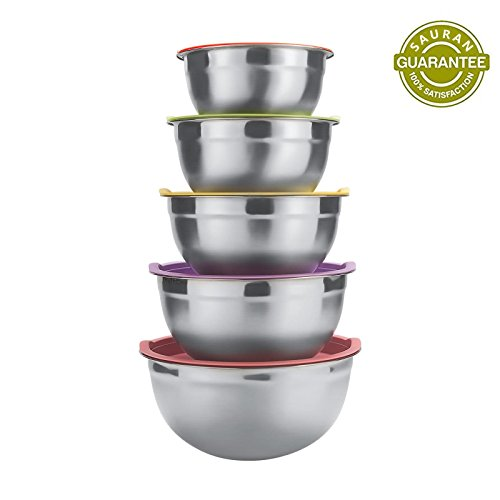 (Sauran 5 Piece Mixing Bowls Large 5 Quart Capacity Stainless Steel Bowl Set With Colorful Lids for Kitchen, Camping and Food Storage and Cotton Towel as Gift by Free)