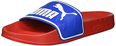 PUMA Unisex-Kids Leadcat New Skool Kids Slide Sandal, Ribbon red-Strong Blue White, 5 M US Big Kid