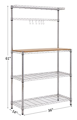 Finnhomy 14x36x61 4-Tiers Adjustable Kitchen Bakers Rack Kitchen Cart Microwave Stand with Chrome Shelves and Thicken Bamboo Cutting Board by Finnhomy (Image #2)