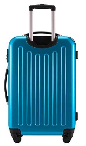 HAUPTSTADTKOFFER® Hartschalen Koffer · 3 Koffergrößen (45 Liter · 87 Liter · 130 Liter) · Hochglanz · Entweder mit Normalen oder TSA Zahlenschloss · CYAN BLAU (130 Liter TSA Schloss)