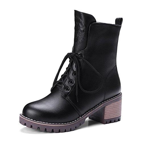 AgooLar con y negras Solid Forro botas mujer tacones redonda para Velvet cordones de tacón punta vv8qwrC