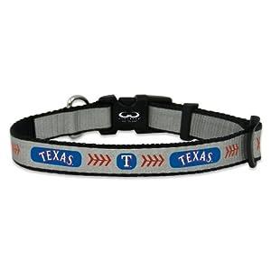 GameWear MLB Texas Rangers Baseball Pet Collar, Small, Reflective
