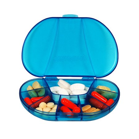 "Multi-day Vitacarry 8 Compartment Pill Box Holds up to 60 Pills Actual Size: 4.5""w X 3.0""d X .93""h (Blue)"