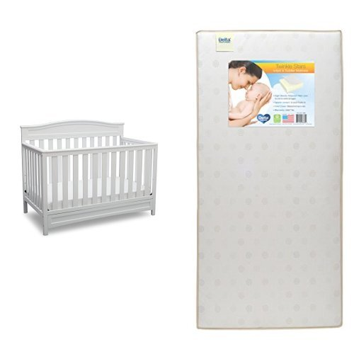 Delta Children Emery 4-in-1 Crib, White with Twinkle Stars Crib & Toddler (A Star Furniture)