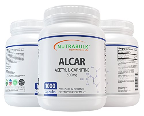 NutraBulk Premium Acetyl L-Carnitine (ALCAR) 500mg Capsules - 1000-Count. by NutraBulk