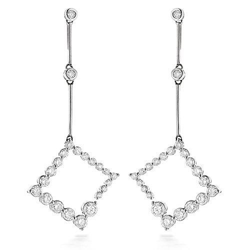 Luxurman Ladies 14K Journey Natural 1 Ctw Matching Diamond Earrings (White Gold) (Journey Bezel Diamond Jewelry)