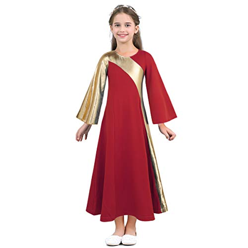 Metallic Stretch Robe - Agoky Kids Girls Bell Sleeves Metallic Liturgical Praise Loose Fit Insert Robe Dance Wear Red 6