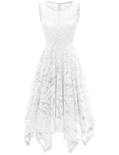 Gardenwed Floral Lace Bridesmaid Dresses Wedding Guest Dress Handkerchief Hem Formal Dresses Cocktail Dresses for Women White -