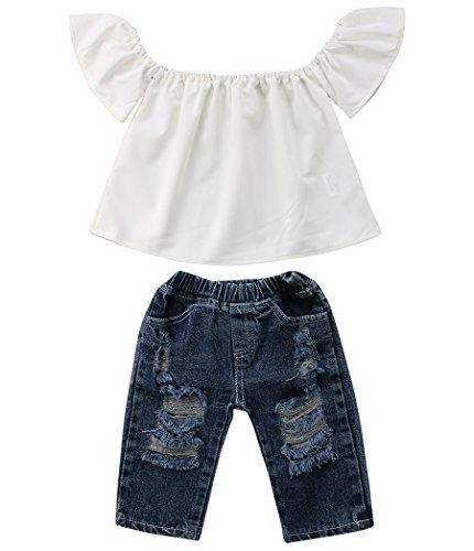 Newborn Kids Baby Girls Off Shoulder Tops Ruffle Sleeve Denim Long Pants Outfits Set Toddler Clothes (White, 6-12M)