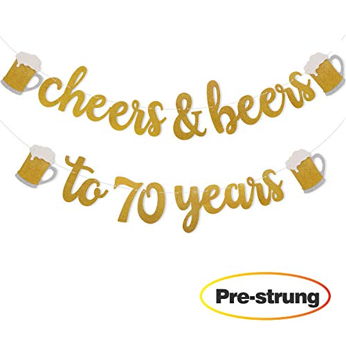 Cheers & Beers to 70 Years Gold Glitter Banner for 70th Birthday Wedding Aniversary Party Decorations Pre Strung & Ready To Hang -
