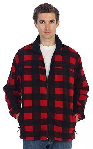 Gioberti Mens Zip Up Plaid Polar Fleece Jacket, Red/Black Checkered, Large
