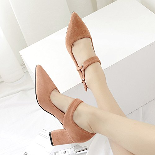 de chica de punta La ZHZNVX pie a de zapatos gruesos satén luz estilo solo caer nueva black tacones de anillo wqTBES