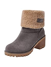 Clearance Women's Ladies Winter Boots,Warm Flock Plush Martin Snow Boots Chunky High Heels Booties Cotton Shoes
