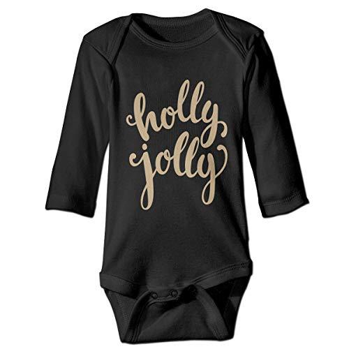 KEIOO Merry Christmas Holly Jolly Unisex Baby Long Sleeve Cotton Onesies Bodysuits Black