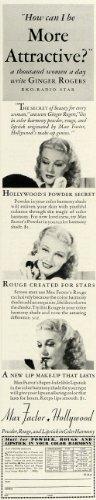 1936 Ad Ginger Rogers RKO Max Factor Hollywood Makeup - Original Print Ad from PeriodPaper LLC-Collectible Original Print Archive