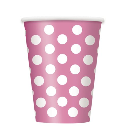 Candy Pink Polka Dot 12 oz Hot/Cold Cups (6 (Dot Candy Costumes)