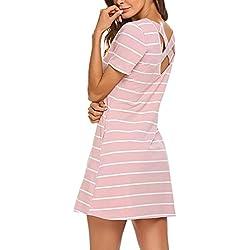 Feager Women's Casual Striped Criss Cross Pockets T Shirts Dress