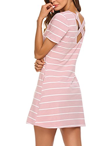 Womens Short Dress Sleeve (Feager Women's Casual Striped Criss Cross Pockets T Shirts Dress Pink, S)