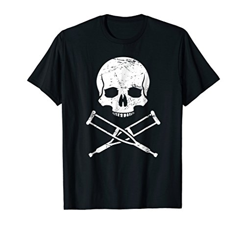 Skull And Crutches - Funny Fractured Broken Ankle T-Shirt