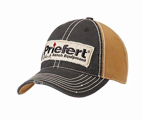 Priefert 15888102 Boy's Distressed Patch Logo Cap Tan/Navy One Size - Frayed Logo Cap