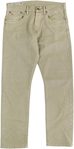 Polo Ralph Lauren Men's Varick Slim Straight Jeans 32W x 30L Khaki (Belted Leather Jeans)