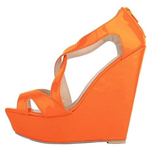 MERUMOTE - Sandalias de vestir de Material Sintético para mujer Orange -Lackleder