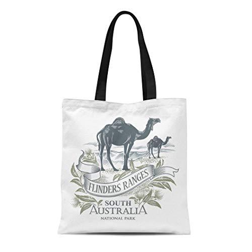 Semtomn Canvas Tote Bag Shoulder Bags National Camel the Flinders Ranges South Australia Park Women's Handle Shoulder Tote Shopper Handbag