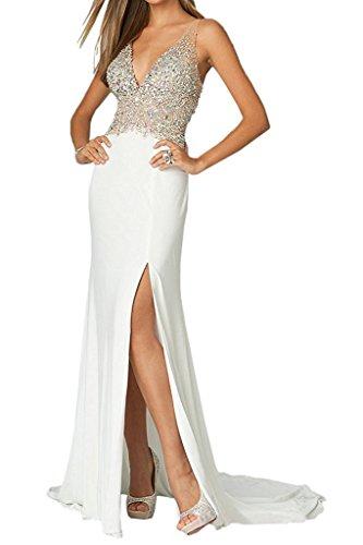 Schwarz Festlichkleider Langes Marie 2017 Braut Ballkleider Abendkleider Partykleider Chiffon Weiß Steine La 6CaqZO
