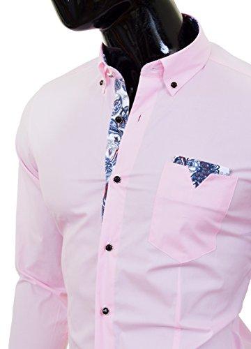 Cipo & Baxx Herren-Rosa Hemd mit Perlenknöpfen und Patterned Finishings
