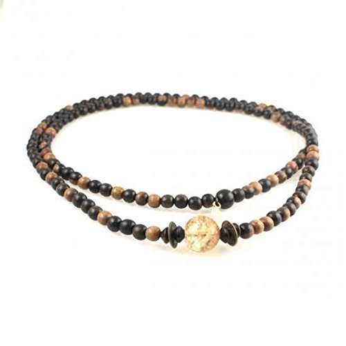Necklace Mala With Amber Quartz, Leopard Ebony, Qing Coins Amber Leopard
