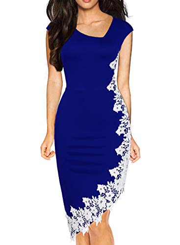 Drimmaks Women's Classy Irregualr Neck White Lace Hem Hi-Low Pencil Tea Work Party Dress (023-Royal Blue,XL)