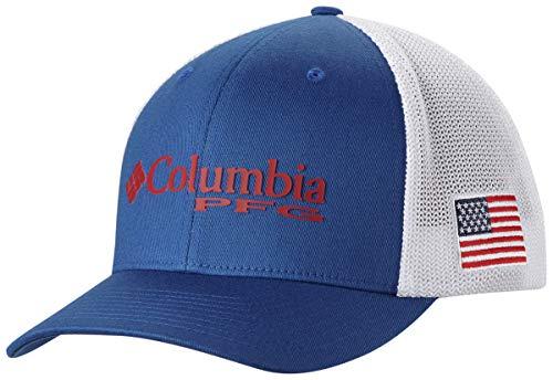 Columbia PFG Mesh Ball Cap, Mountain Blue/US Flag, Small/Medium