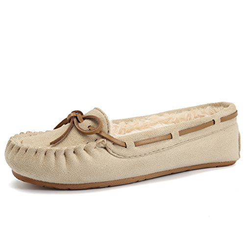 (CIOR Fantiny Women's Slipper Micro Suede Faux Fur Lined Indoor & Outdoor Moccasins Slip On-U118WMT005-sand01-41)