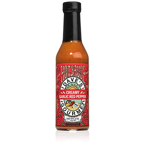 Dave's Gourmet Creamy Garlic Red Pepper Hot Sauce 8 oz Glass Bottle - Pack of 1