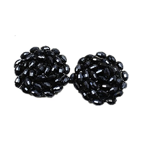 Douqu 1 Pair Bead Shoe Decoration Fabric Shoes Flower Clip with glass beads Shoe Accessories ()