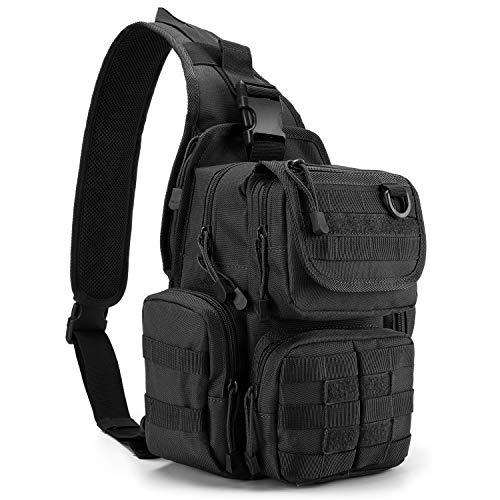 G4Free Tactical Sling Bag Pack with Pistol Holster, Military Shoulder Bag Satchel, Range Bag Daypack Backpack (Black)