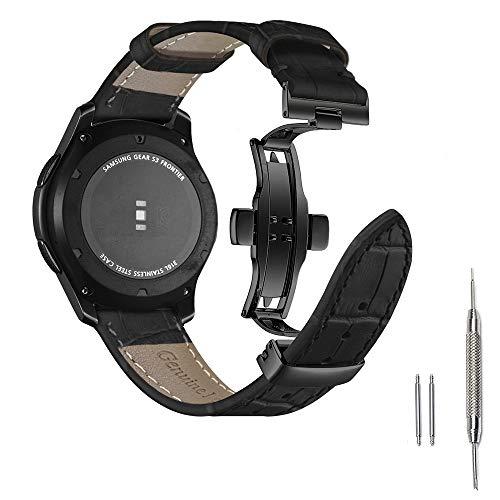 سازگار Aottom برای سامسونگ Gear S3 Frontier / Classic Band 22mm Hybrid Vintage Sweatproof چرم ساعت مچی دستبند فلزی پروانه دستبند دستبند جایگزین دستبند برای سامسونگ Galaxy Watch 46mm