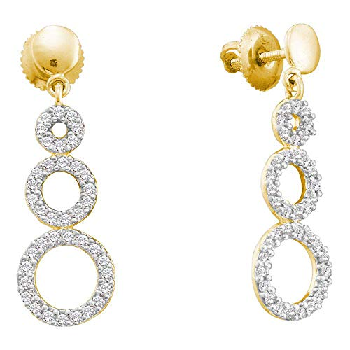 Jewel Tie Solid 14k Yellow Gold Round Diamond Triple Circle Screwback Dangle Earrings (3/8 ()
