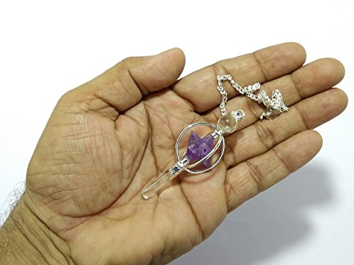 - WholesaleGemShop Amethyst Spinning Merkaba Pendulum Dowsing Healing Chakra Balancing Reiki