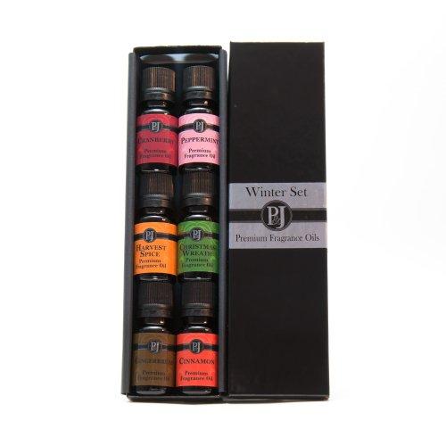 Зима Набор из 6 высшего сорта аромат масла - корица, пряники, клюква, Harvest специи, мята перечная, Рождественский венок - 10 мл