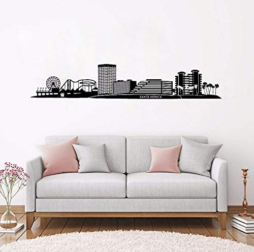 Dalxsh Great Santa Monica Ca Skyline Vinyl Wall Stickers Home Decor Black Adhesive Skyline Decals Landscape Mural Large Removable 10X60Cm -