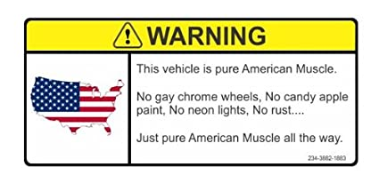 Amazon Com Warning This Vehicle Is Pure American Muscle Car Vinyl
