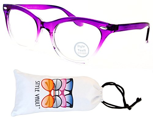 E27-vp Style Vault Clear Lens Cateye Eyeglasses (S3231V Crystal Purple/Clear-Clear, - Eyeglass See Frames Through